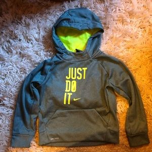 Boys Green Nike Hooded Sweatshirt